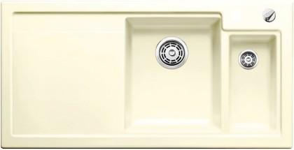 Кухонная мойка чаши справа, крыло слева, с клапаном-автоматом, с коландером, керамика, магнолия глянцевая Blanco AXON II 6 S PuraPlus 519608