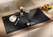 Кухонная мойка оборачиваемая с крылом, с клапаном-автоматом, гранит, алюметаллик Blanco METRA 5 S-F 519098
