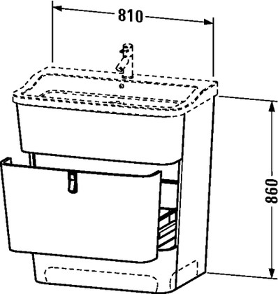 Тумба напольная под раковину, 860x810мм, шпон дуба Duravit ESPLANADE ES905100505