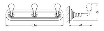 Планка с 3-мя крючками, матовое золото 3SC STI 302