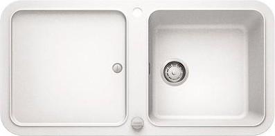 Кухонная мойка оборачиваемая с крылом, с клапаном-автоматом, гранит, белый Blanco YOVA XL 6 S 519587