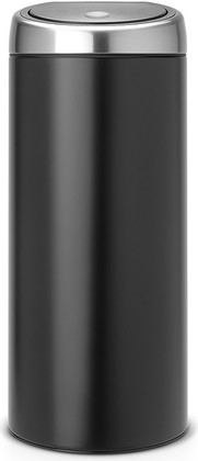 Ведро для мусора 30л чёрное матовое Brabantia TOUCH BIN 378744