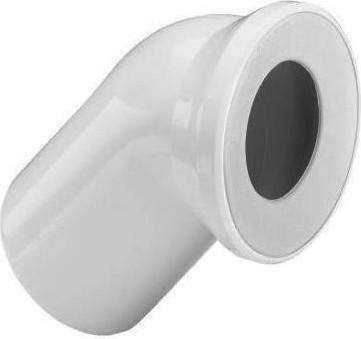 Соединительный белый пластиковый патрубок 45° для унитаза, 135мм Viega 101718