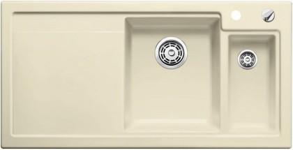 Кухонная мойка чаши справа, крыло слева, с клапаном-автоматом, с коландером, керамика, жасмин Blanco AXON II 6 S PuraPlus 516546