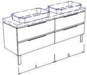 Тумба напольная для двух раковин, 4 ящика, без столешницы и раковин 220х50х50см Verona Ampio AM208.A110.B110.000
