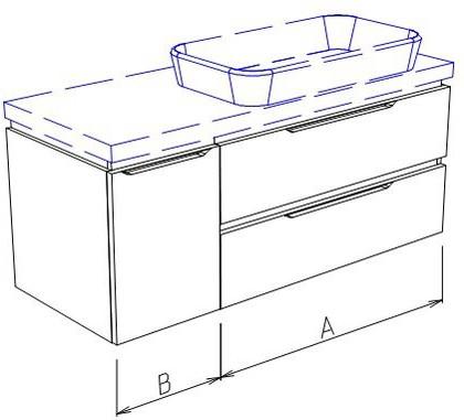 Тумба подвесная, 2 ящика и дверь слева, без столешницы и раковины 95х50х50см Verona Ampio AM106.A070.B025.000
