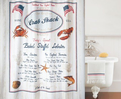 Штора для ванной комнаты 180x200см текстильная Spirella CRAB SNACK 1017498