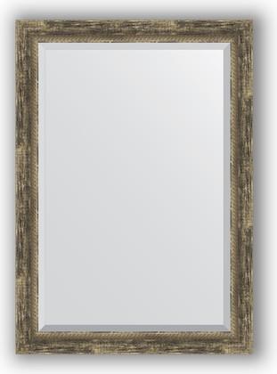 Зеркало с фацетом в багетной раме 73x103см старое дерево с плетением 70мм Evoform BY 3460
