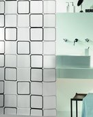 Штора для ванны 180x200см чёрно-белая Spirella FRAME 1001942