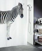 Штора для ванной 180x200см текстильная чёрно-белая Spirella ZEBRA 1011554