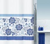Штора для ванны 180x200см текстильная синяя Spirella FIORELLA 1015518