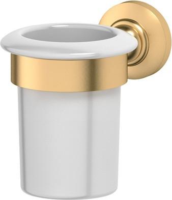 Стакан фарфоровый с настенным металлическим держателем, матовое золото 3SC STI 303