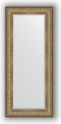 Зеркало с фацетом в багетной раме 65x150см виньетка античная бронза 109мм Evoform BY 3555