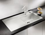 Кухонная мойка чаша справа, крыло слева, с клапаном-автоматом, гранит, белый Blanco ZENAR 45 S 519255