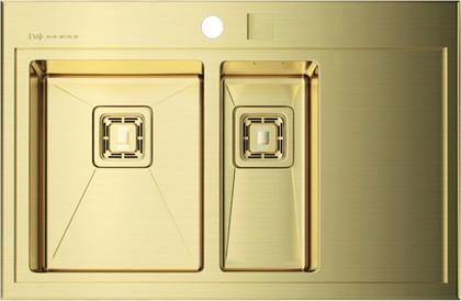 Кухонная мойка крыло справа, нержавеющая сталь золотая Omoikiri Akisame OAK-78-2-IN-LG