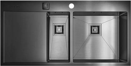 Кухонная мойка с левым крылом, нержавеющая вороненая сталь Omoikiri Akisame 100-2-GM-R 4993104