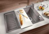 Кухонная мойка оборачиваемая с крылом и решеткой, гранит серый беж Blanco ELON XL 8 S 520491