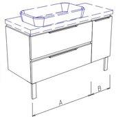 Тумба напольная, 2 ящика и дверь справа, без столешницы и раковины 110х50х50см Verona Ampio AM204.A080.B030.000