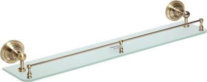 Полка стеклянная с бортиком 600мм, бронза, Bemeta 144102267