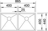 BLANCO ZEROX 400/400-IF Схема с размерами вид сверху