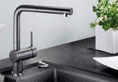 Смеситель кухонный однорычажный с высоким выдвижным изливом, SILGRANIT серый беж Blanco LINUS-S 517621