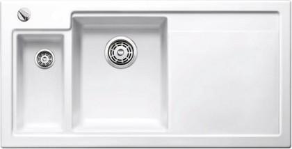 Кухонная мойка чаши слева, крыло справа, с клапаном-автоматом, с коландером, керамика, белый глянцевый Blanco AXON II 6 S PuraPlus 516541