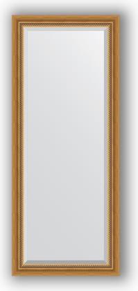Зеркало с фацетом в багетной раме 63x153см состаренное золото с плетением 70мм Evoform BY 3561