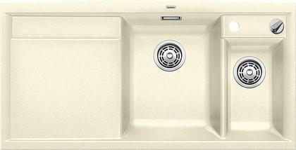 Кухонная мойка чаши справа, крыло слева, с клапаном-автоматом, с коландером, гранит, жасмин Blanco AXIA II 6 S 516823