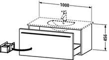 Тумбочка подвесная под умывальник, 456x1000мм, венге Duravit X-LARGE XL 6063 28