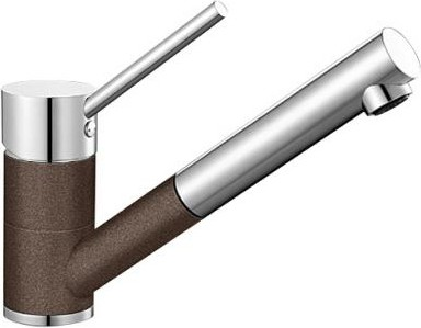 Компактный кухонный смеситель с выдвижным изливом, хром / кофе Blanco ANTAS-S 515357