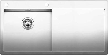 Кухонная мойка чаша слева, крыло справа, с клапаном-автоматом, нержавеющая сталь зеркальной полировки Blanco CLARON 5 S-IF/А 514000