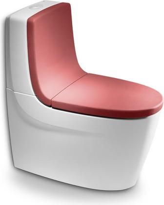 Унитаз напольный, комплект (чаша, бачок, сиденье красное с микролифтом) Roca KHROMA 342657-2