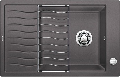 Кухонная мойка оборачиваемая с крылом, с клапаном-автоматом, гранит, тёмная скала Blanco ELON XL 6 S-F 519511