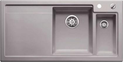 Кухонная мойка чаши справа, крыло слева, с клапаном-автоматом, с коландером, керамика, базальт Blanco AXON II 6 S PuraPlus 516552