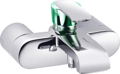 Смеситель для ванны однорычажный с изливом, хром / зеленоватый хрусталь Kludi JOOP! 55443H775
