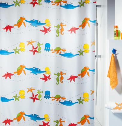 Штора для ванны 180x200см текстильная мультиколор Spirella AQUARIUM 1009306