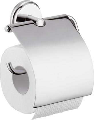 Держатель для туалетной бумаги металлический с крышкой, хром Hansgrohe Logis 40523000