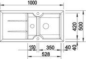BLANCO IDESSA 6 S Схема с размерами: вид сверху