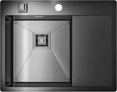 Кухонная мойка с правым крылом, нержавеющая вороненая сталь Omoikiri Akisame 65-GM-L 4993097