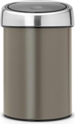 Ведро для мусора 3л, платиновое Brabantia TOUCH BIN 364464