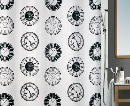 Штора для ванны 180x200см текстильная чёрно-белая Spirella TIME 1017073