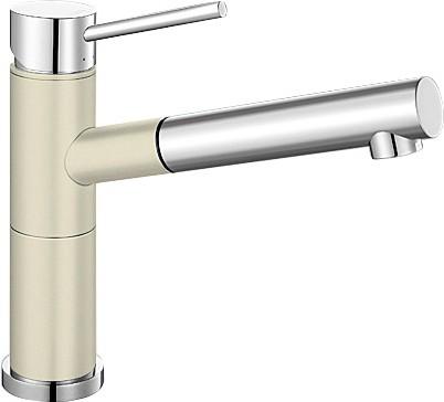 Небольшой кухонный однорычажный смеситель с выдвижным изливом, хром / жасмин Blanco ALTA-S Compact 515328