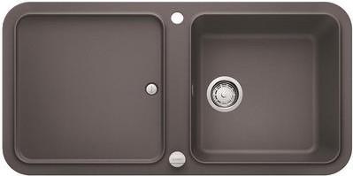 Кухонная мойка оборачиваемая с крылом, с клапаном-автоматом, гранит, тёмная скала Blanco YOVA XL 6 S 519584