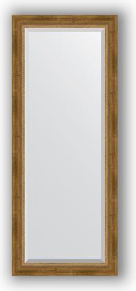 Зеркало с фацетом в багетной раме 58x143см состаренное бронза с плетением 70мм Evoform BY 3536