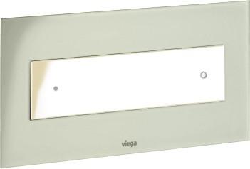 Кнопка смыва для унитаза, светло-серое прозрачное стекло и белая пластиковая клавиша Viega Visign for Style 12 690595