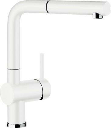 Смеситель кухонный однорычажный с высоким выдвижным изливом, керамика матовый белый Blanco LINUS-S 516711