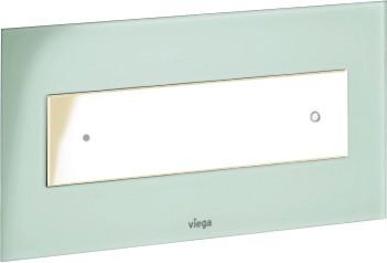Кнопка смыва для унитаза, прозрачное стекло цвета зелёной мяты и белая пластиковая клавиша Viega Visign for Style 12 690649