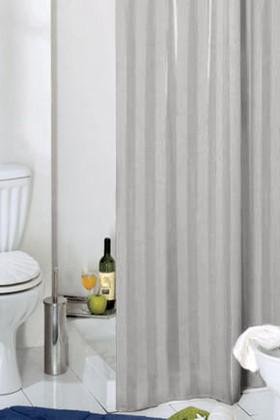 Штора для ванны 180x200см серебристая с атласом с кольцами 12шт Grund RIGONE 804.98.003