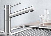 Небольшой кухонный однорычажный смеситель с выдвижным изливом, нержавеющая сталь полированная Blanco ALTA Compact 517181