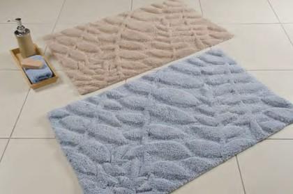 Коврик для ванной комнаты хлопковый 50x80см голубой Spirella FEUILLAGE 4006913